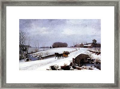 Sleigh In Winter Framed Print by Thomas Birch