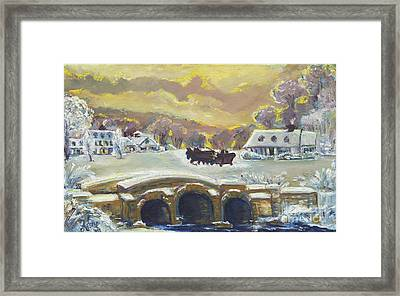 Sleigh Ride By The Creek Framed Print by Helena Bebirian