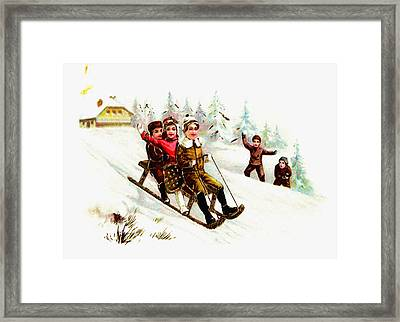 Sleigh Ride Framed Print by Unknown