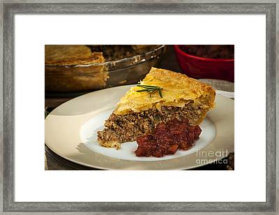 Slice Of Meat Pie Tourtiere Framed Print by Elena Elisseeva