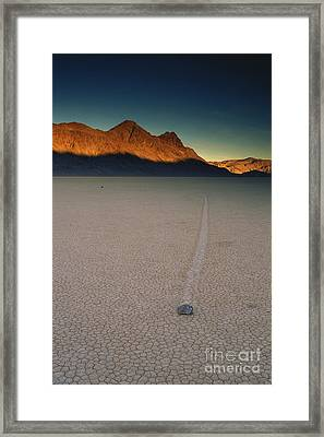 Sliding Rock On Racetrack Playa Framed Print by George Ranalli