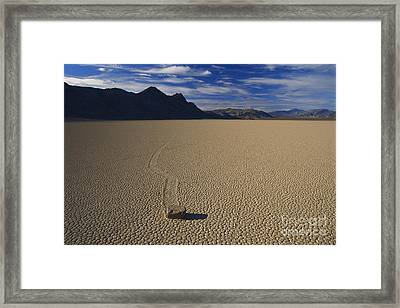Sliding Rock On Racetrack Playa Framed Print by Mark Newman