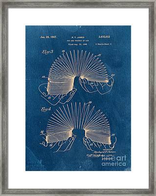 Slinky Toy Blueprint Framed Print by Edward Fielding