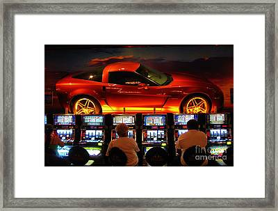 Slots Players In Vegas Framed Print by John Malone