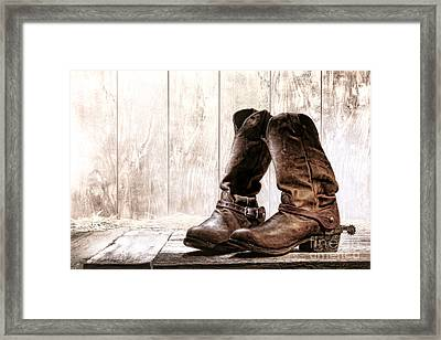 Slouch Cowboy Boots Framed Print by Olivier Le Queinec