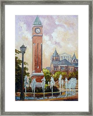 Slu Clock Tower In St.louis Framed Print by Irek Szelag