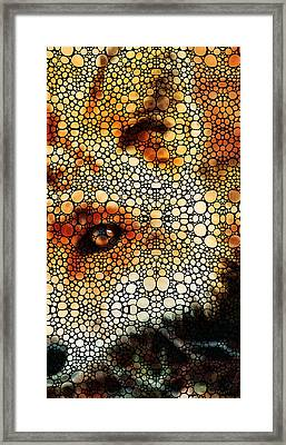Sly Fox - Mosaic Art By Sharon Cummings Framed Print by Sharon Cummings