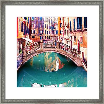 Small Bridge In Venice Framed Print by Marian Voicu
