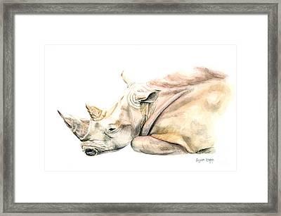Small Colour Rhino Framed Print by Elizabeth Lock