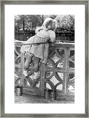 Small Girl Fishing Framed Print by Underwood Archives