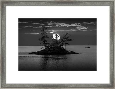 Small Island At Sunset In Black And White Framed Print by Randall Nyhof