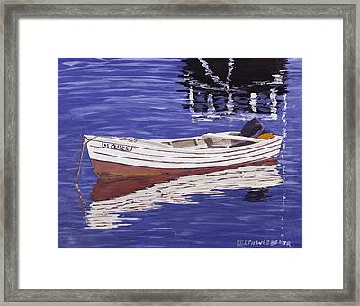 Small Motor Boat In Maine Harbor  Framed Print by Keith Webber Jr