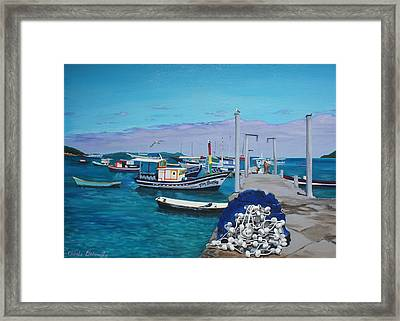 Small Pier In The Afternoon-buzios Framed Print by Chikako Hashimoto Lichnowsky