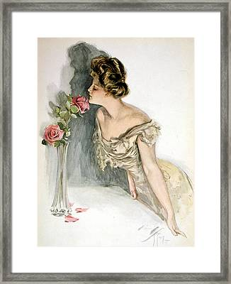 Smelling The Roses Framed Print by Harrison Fisher