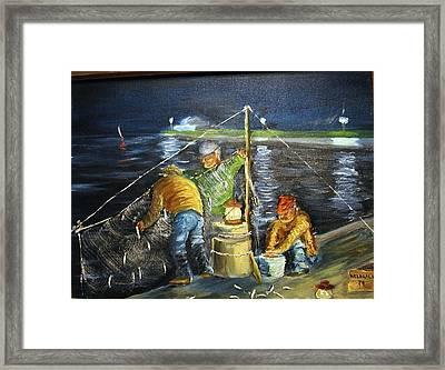 Smelt Fishing Framed Print by Lawrence Welegala