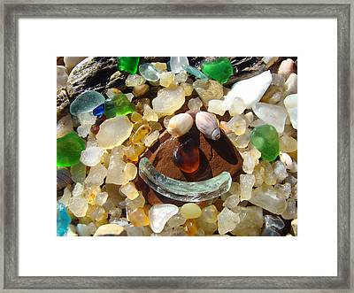 Smiley Face Art Prints Seaglass Shells Agates Beach Framed Print by Baslee Troutman