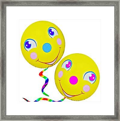 Smiley Face Balloons Framed Print by Susan Leggett