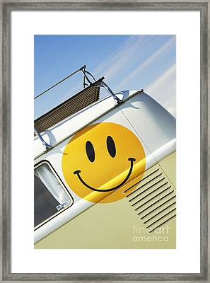 Smiley Face Vw Campervan Framed Print by Tim Gainey