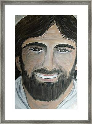 Smiling Jesus Framed Print by Tammy Rogers