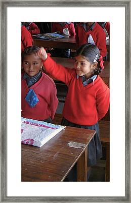 Smiling Student Red Sweater Framed Print by Russell Smidt