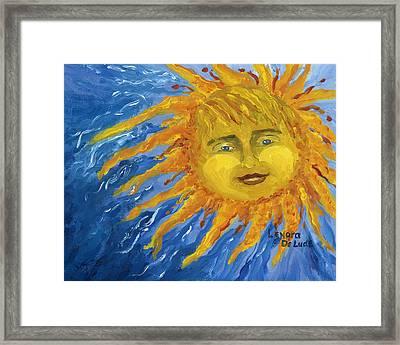 Smiling Yellow Sun In Blue Sky Framed Print by Lenora  De Lude