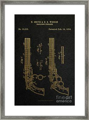 1854 Smith And Wesson Magazine Firearm Patent Art 2 Framed Print by Nishanth Gopinathan