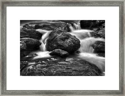 Smith Creek In Black And White Framed Print by Greg Mimbs