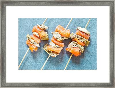 Smoked Salmon And Grilled Artichoke Framed Print by Tom Gowanlock