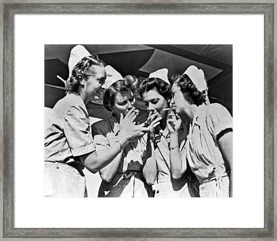 Smoking Army Nurses Framed Print by Underwood Archives
