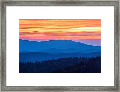 Smoky Mountains Sunset Framed Print by Chris Moore