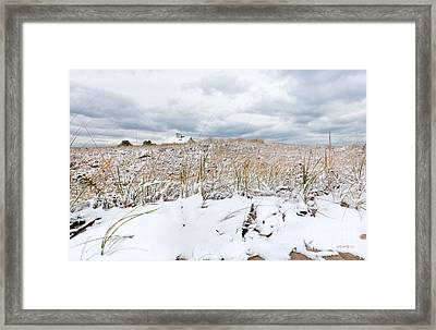 Smuggler's Beach Snow Cape Cod Framed Print by Michelle Wiarda