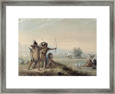 Snake Indians Testing Bows Framed Print by Alfred Jacob Miller