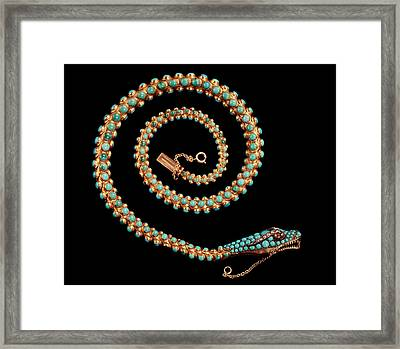 Snake Necklace, 1844 Gold With Pave-set Diamonds, Garnets And Turquoises Framed Print by English School