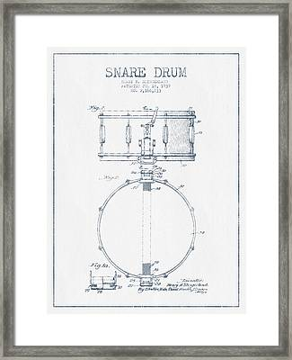 Snare Drum Patent Drawing From 1939 - Blue Ink Framed Print by Aged Pixel