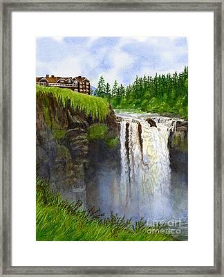 Snoqualmie Falls Vertical Design Framed Print by Sharon Freeman
