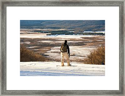 Snow Boarder Planning His Run Framed Print by Dan Friend