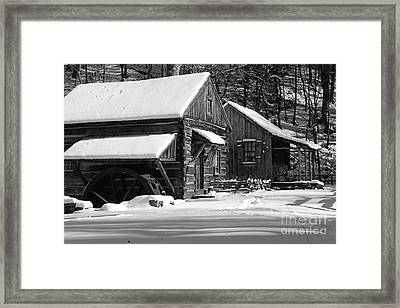 Snow Bound In Black And White Framed Print by Paul Ward