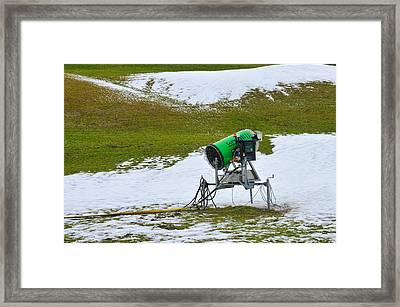 Snow Cannon On Meadow With Little Snow Framed Print by Matthias Hauser