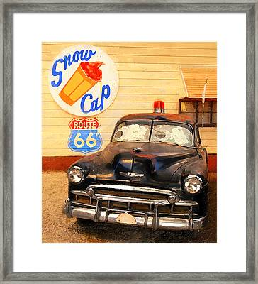 Snow Cap On Route 66 Framed Print by Ron Regalado