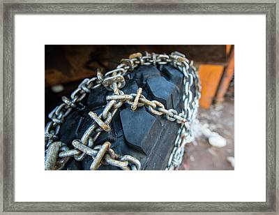 Snow Chains On A Snow Plough Framed Print by Ashley Cooper