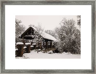 Snow Covered Bridge Framed Print by Robert Frederick