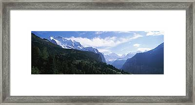 Snow Covered Mountains, Swiss Alps Framed Print by Panoramic Images