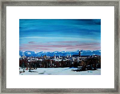 Snow Covered Munich Winter Panorama With Alps Framed Print by M Bleichner