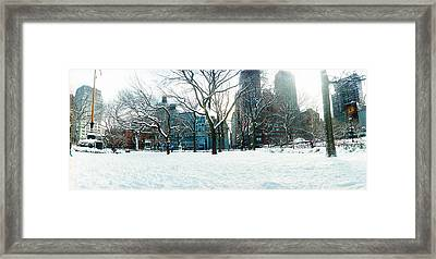 Snow Covered Park, Union Square Framed Print by Panoramic Images