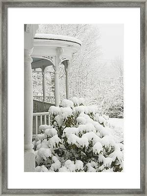 Snow Covered Porch Framed Print by Keith Webber Jr