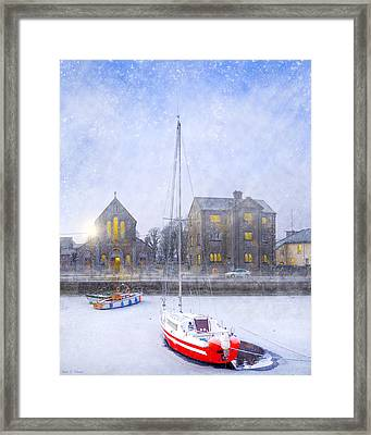 Snow Falling On The Claddagh Church - Galway Framed Print by Mark E Tisdale