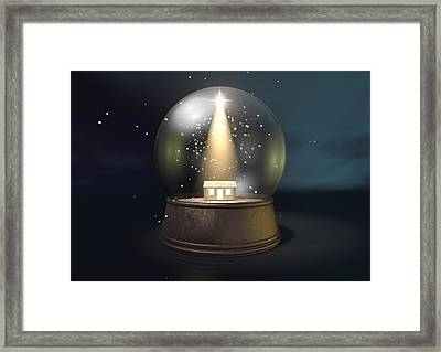 Snow Globe Nativity Scene Night Framed Print by Allan Swart