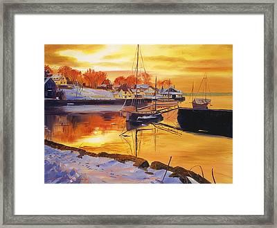 Snow Harbor Framed Print by David Lloyd Glover