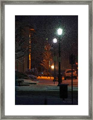 Snow In Downtown Grants Pass - 5th Street Framed Print by Mick Anderson