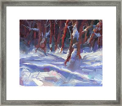 Snow Laden - Winter Snow Covered Trees Framed Print by Talya Johnson